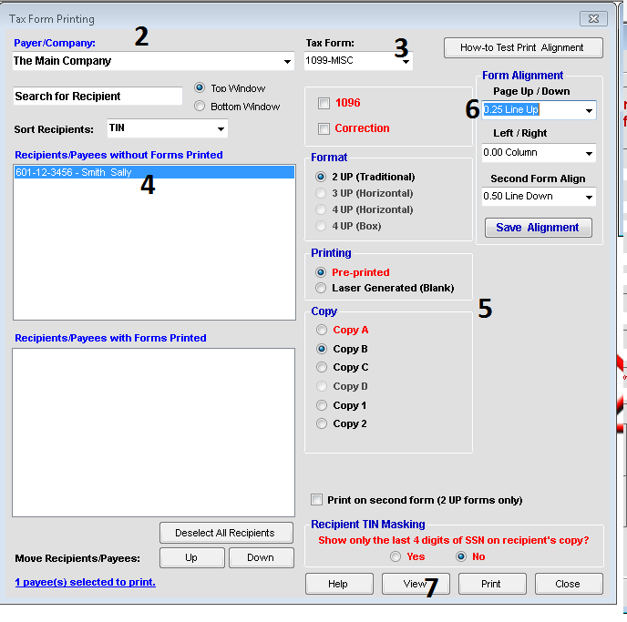 Print forms in TFP sofware
