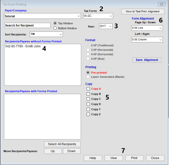 Printing the W2C in TFP software