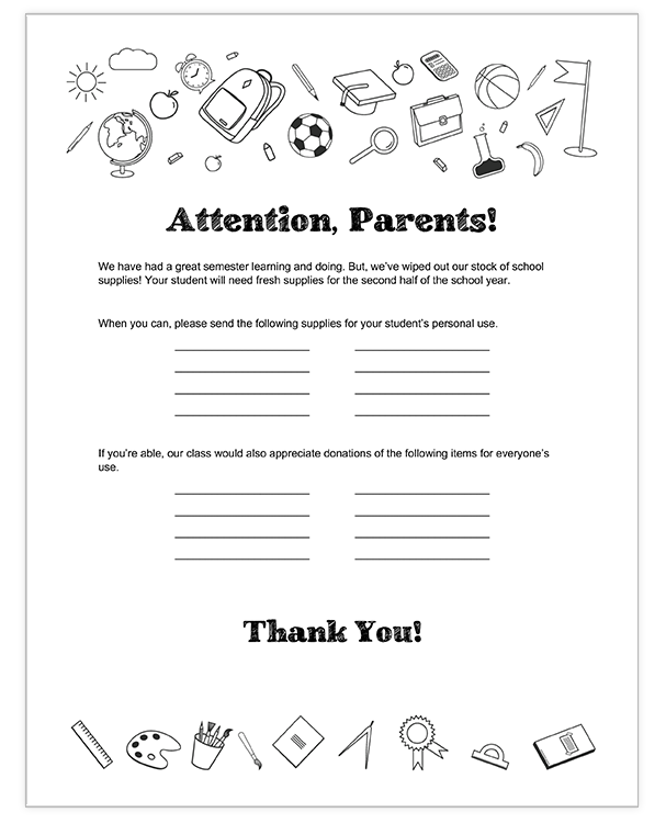 Teacher supply request letter