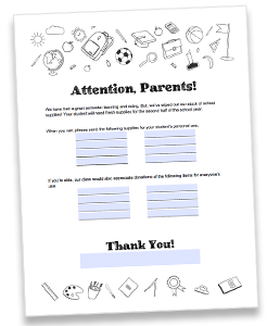 Teacher resupply request letter for parents