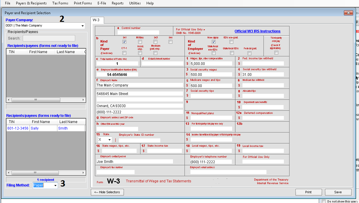 Transmittal forms in TFP software
