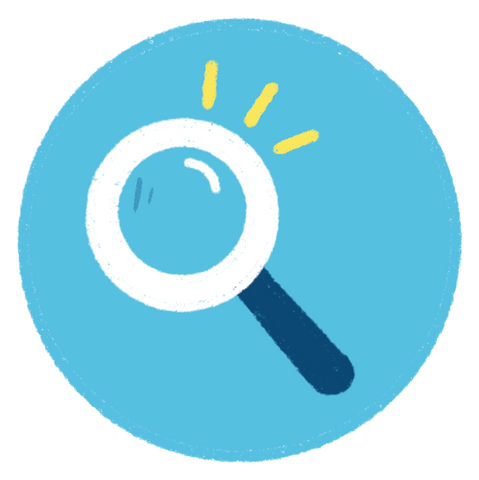 research and evaluate icon