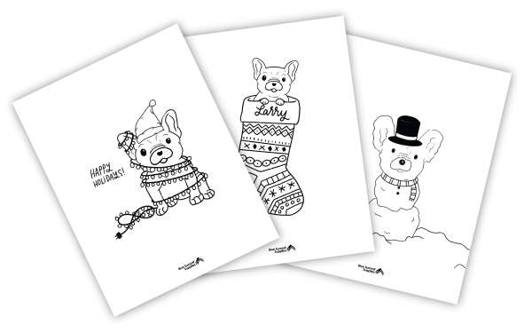 Free French bulldog Christmas coloring pages