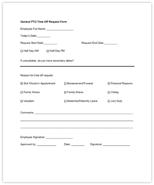 General PTO Request form