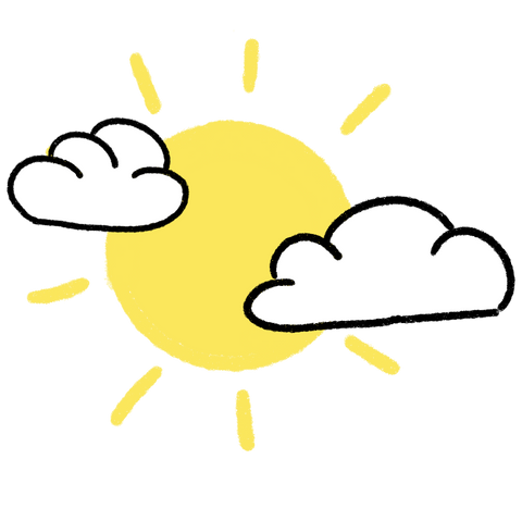 Sun Surrounded by Clouds Illustration
