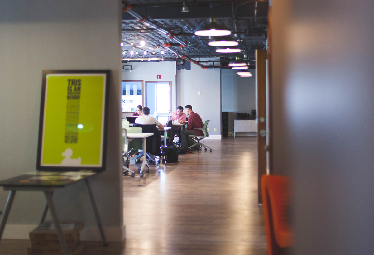 Team building in an open concept office space