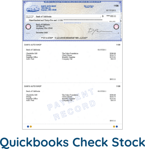 quickbooks check stock