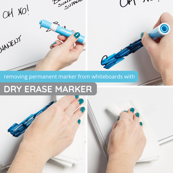 Remove permanent marker from whiteboard with dry erase marker