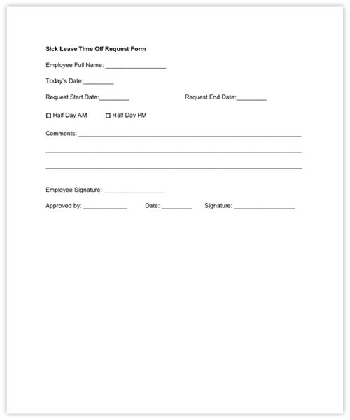 Sick leave time off request form