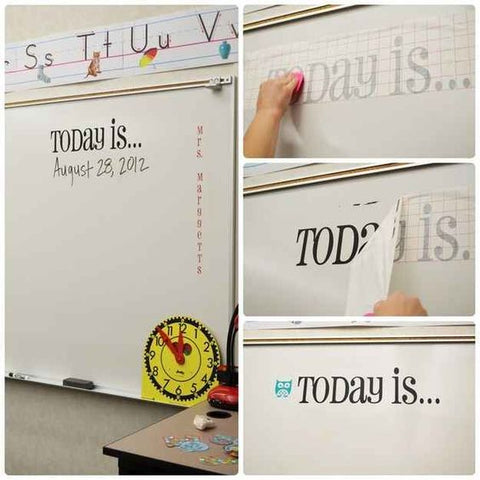 Vinyl lettering on whiteboard