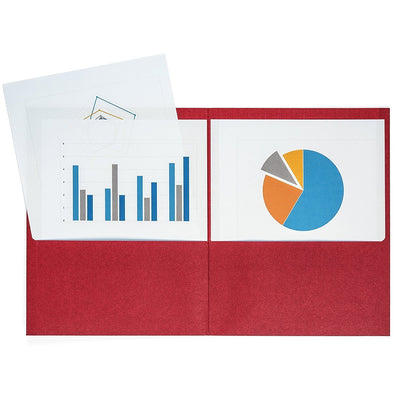 Two Pocket Folders, Red, 25 Pack Folders Blue Summit Supplies