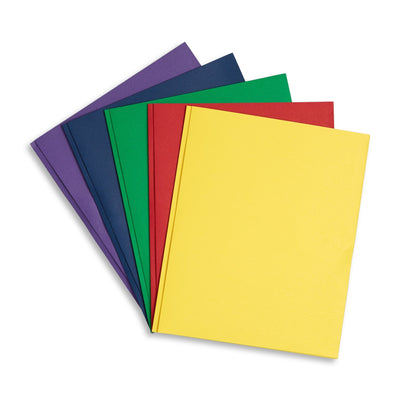 Two Pocket Folders with Prongs, Assorted Colors, 100 Pack