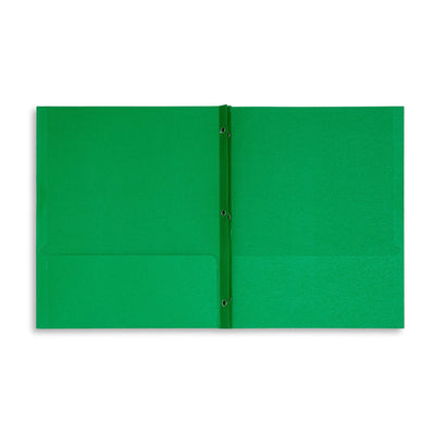 Two Pocket Folders with Prongs, Green, 25 Pack Folders Blue Summit Supplies