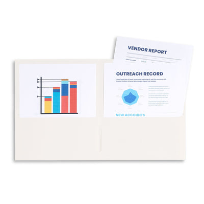 Two Pocket Folders, Off White/Ivory, 25 Pack Folders Blue Summit Supplies