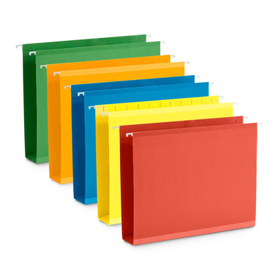 "2"" Hanging File Folders, Letter Size, Assorted Colors, 25 Pack"