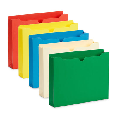 "2"" File Jacket, Legal Size, Assorted Colors, 50 Pack"