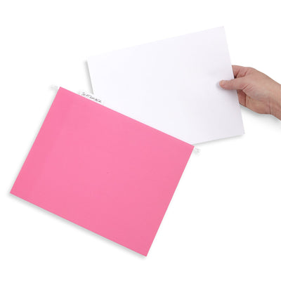 Hanging File Folders, Letter Size, Pink, 25 Pack Folders Blue Summit Supplies