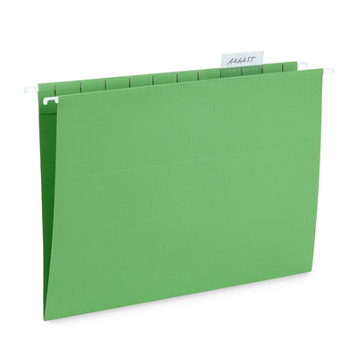 Hanging File Folders, Letter Size, Green, 25 Pack
