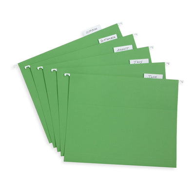 Hanging File Folders, Letter Size, Green, 25 Pack Folders Blue Summit Supplies