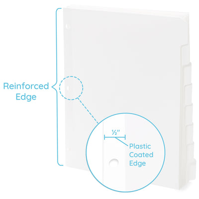 3 Ring Binder Dividers, 1/8 Cut Tabs, White, 96 Pack Binder Dividers Blue Summit Supplies