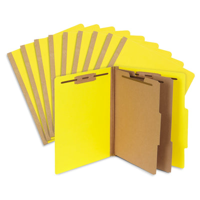 Classification Folders with 2 Dividers, Letter Size, Yellow, 10 Count Folders Blue Summit Supplies