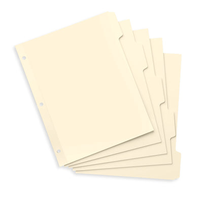 3 Ring Binder Dividers, 1/5 Cut Tabs, Manila, 100 Pack Binder Dividers Blue Summit Supplies