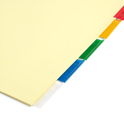 Tabbed Binder Dividers, 1/5 Cut Plastic Tabs, Colored, 6 Sets