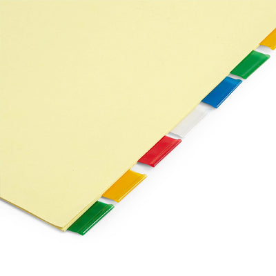 Tabbed Binder Dividers, 1/8 Cut Plastic Tabs, Colored, 48 Sets
