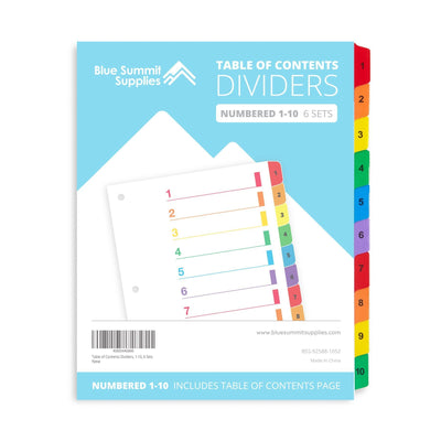 10 Tab Dividers for 3-Ring Binders, 6 Sets Binder Dividers Blue Summit Supplies