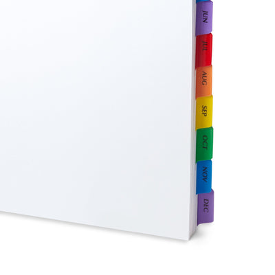 12 Month Dividers for 3-Ring Binders, 6 Sets Binder Dividers Blue Summit Supplies