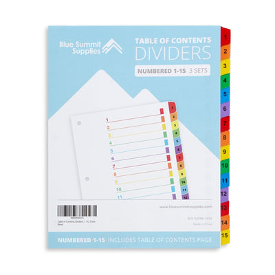 15 Tab Dividers for 3-Ring Binders, 3 Sets Binder Dividers Blue Summit Supplies