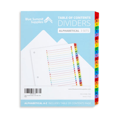 A to Z Tab Dividers for 3-Ring Binders, 3 Sets Binder Dividers Blue Summit Supplies