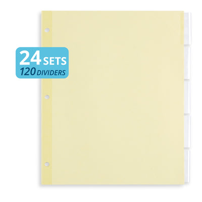 Tabbed Binder Dividers, 1/8 Cut Plastic Tabs, Clear, 24 Sets Binder Dividers Blue Summit Supplies