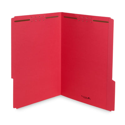 Fastener File Folders, Legal Size, Red, 50 Pack Folders Blue Summit Supplies