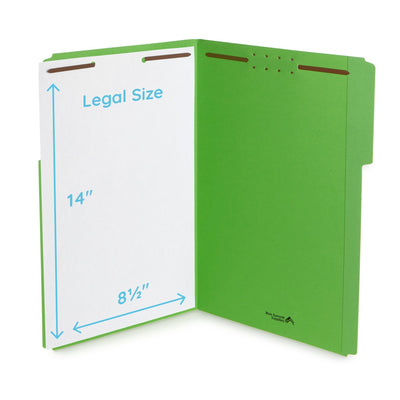 Fastener File Folders, Legal Size, Green, 50 Pack Folders Blue Summit Supplies