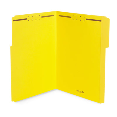 Fastener File Folders, Legal Size, Yellow, 50 Pack Folders Blue Summit Supplies