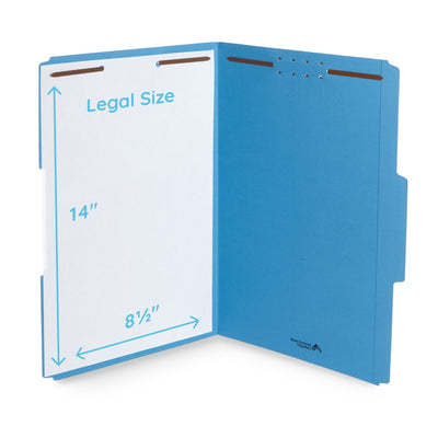 Fastener File Folders, Legal Size, Blue, 50 Pack Folders Blue Summit Supplies