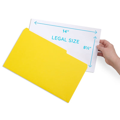 File Folders, Legal Size, Yellow, 100 Pack