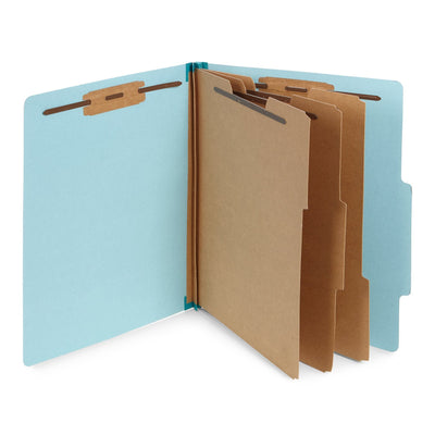 Classification Folders with 3 Dividers, Letter Size, Light Blue, 10 Count Folders Blue Summit Supplies