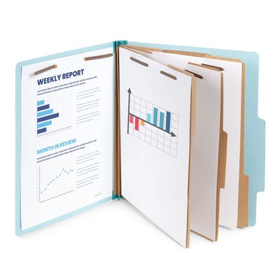 Classification Folders with 3 Dividers, Letter Size, Light Blue, 10 Count