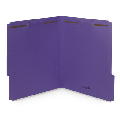 Fastener File Folders, Letter Size, Purple, 50 Pack Folders Blue Summit Supplies