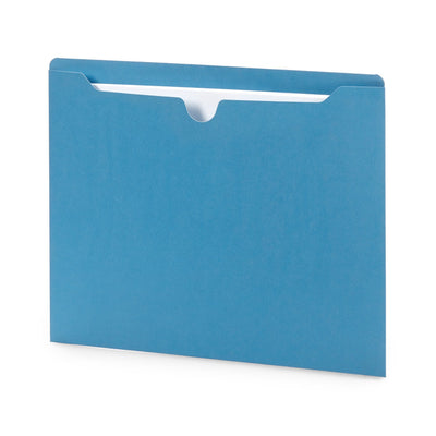 File Jacket, Letter Size, Blue, 100 Pack Folders Blue Summit Supplies