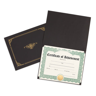 Black Award Certificate Holders with Gold Foil, Letter Size, 25 Pack Folders Blue Summit Supplies