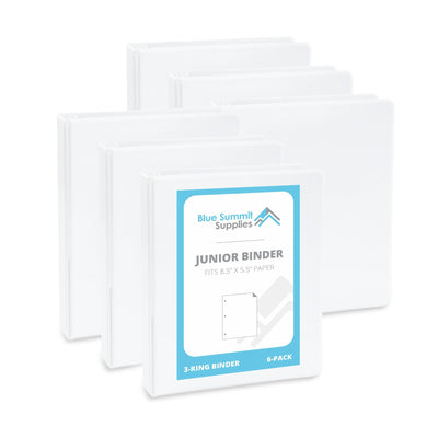 "1"" Mini 3-Ring Binder, White, 6 Count binders Blue Summit Supplies"