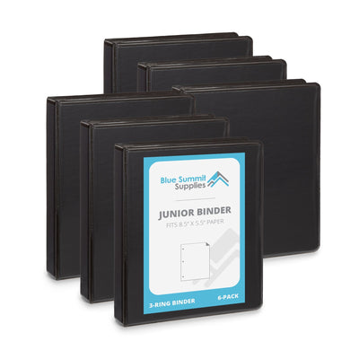 "1"" Mini 3-Ring Binder, Black, 6 Count binders Blue Summit Supplies"