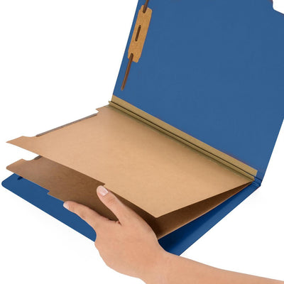 Classification Folders with 2 Dividers, Letter Size, Dark Blue, 10 Count Folders Blue Summit Supplies