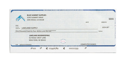 Blank Check Stock, Perforated, 500 Sheets Business Forms Blue Summit Supplies