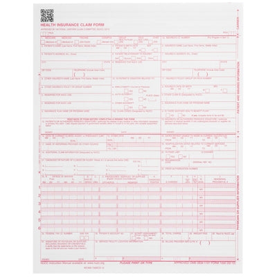 CMS-1500 Claim Forms, 02/2012 Version, 500 Count Business Forms Blue Summit Supplies
