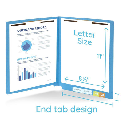 End Tab Fastener File Folders, Letter Size, Blue, 50 Pack