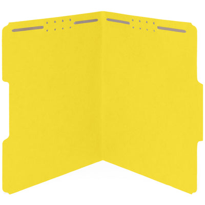 Fastener File Folders, Letter Size, Yellow, 50 Pack
